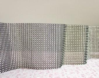 "NEW ITEM! Silver And Black Diamond Mesh 4.5"" Ribbon Trim / By The Yard / 24 Rows Wrap Sparkle Faux Rhinestone Trim / One Yard"