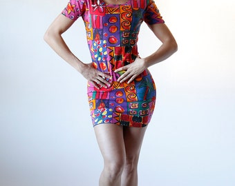 Vintage 90s Abstract Rainbow BodyCon Mini Dress Size Small Medium Made in Italy - R1-24