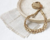Layered linen necklace Natural jewelry Beige multi strand crochet beaded necklace Boho chic Gift for her