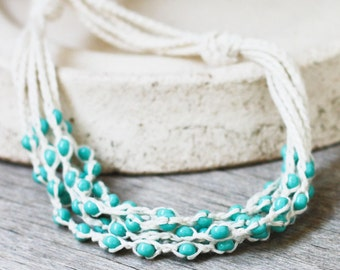 Multi strand linen necklace with mint blue glass beads Bohemian jewelry Layered necklace Gift for her Rustic chic Summer
