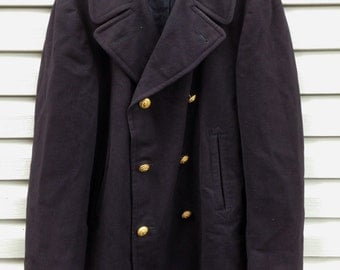 USN Melton Wool Pea Coat, Officer's Reefer Jacket, US Navy, 1974, size 40 R
