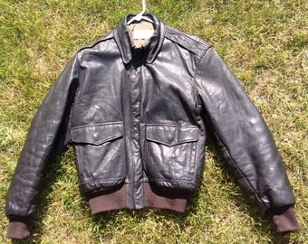 LL Bean Goatskin A2 Jacket, Leather Jacket, Made in USA, 36