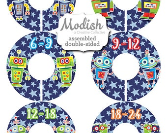 Closet Dividers, Assembled, Baby Closet Dividers, Closet Organizers, Baby Boy, Robots Nursery Decor, Robots, Stars, Blue, Navy, Baby Gift