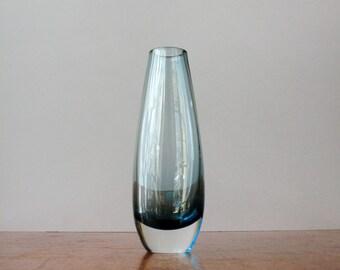 Mid Century Swedish Cased Glass Bud Vase - Blue / Clear