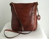 Vintage Etienne Aigner Wave Cut Chestnut Leather Shoulder Bag