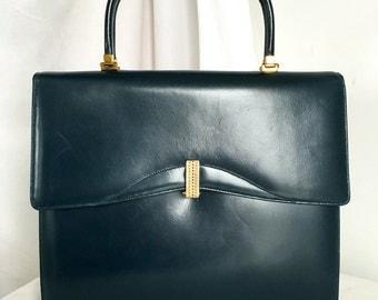 Vintage Rendl for I. Magnin Navy Leather Handbag