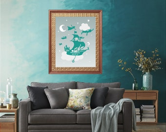 Peter Pan Moon and Star Wall Art Print, Nautical room decor - print#153 lovebirdslane