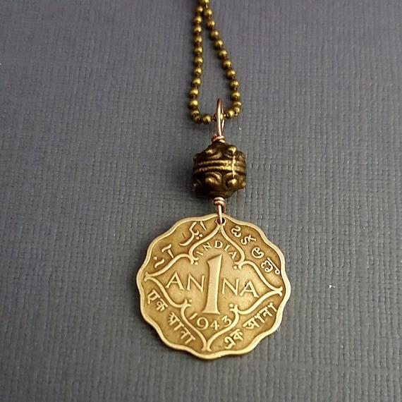 ANNA COIN necklace - Beautiful ornate coin necklace - India 1 Anna coin - name necklace - antique coin - Ann, Anne, Anna, Annabel, Annalise