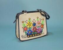 ENID COLLINS Flower Basket Shoulder Bag Floral Beach Bag PURSE Colorful Flowers Pink Aqua Vintage Vacation Linen Canvas Rhinestones Gems