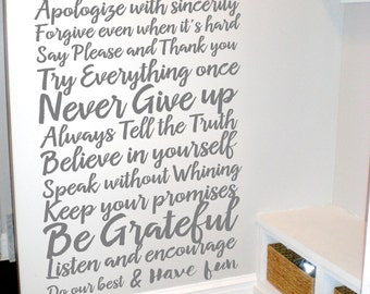 House Rules - Living Room Decal - House Rules Sign - Vinyl Wall Decal - Wall Decal Family - In This House We Do Decal - 4003