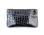 MAE Black Leather Pouch. Black Leather Wallet. Small Black Leather Pouch. Black Evening Clutch. Black Croc Clutch