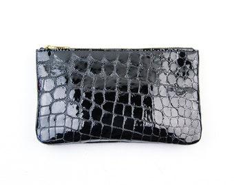 MAE Black Leather Pouch. Black Leather Wallet. Small Black Leather Pouch. Black Evening Clutch. Black Croc Clutch