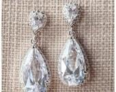 Vintage Wedding Earrings, Teardrop Wedding Earrings, Diamante bridal earrings, Silver wedding jewelry, bridal earrings, CZ bridal Earrings