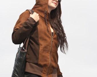 Ladies recycled suede hoodie jacket