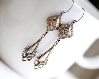 Long Antique Brass Drop Earrings, Brass Earrings, Vintage Style Earrings, Art Deco Earrings, Gold Earrings