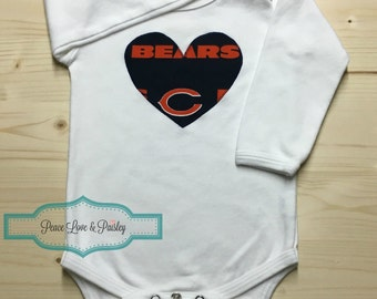 Chicago Bears Bodysuit with Heart Made from Chicago Bears Fabric, Bears Baby, Chicago Baby Outfit, Baby Girl Bears