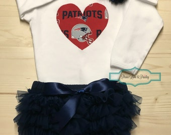New England Patriots Bodysuit, Ruffle Diaper Cover and Headband Set Made from Patriots Fabric, Patriots Baby Outfit, Baby Girl Patriots, NFL