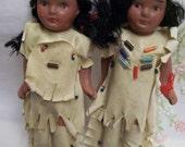 Vintage Native American Indian Dolls Pair Porcelain in Original Box