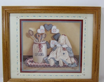 Country Bunny Framed Picture Home Interiors Matted Framed Art Print of Rabbit, Crock of Wooden Spoons, Braided Rug and Stuffed Heart Wreath