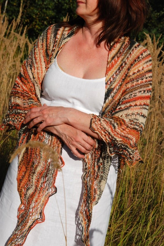 Warm Hand Knitted Winter Shawl, Stole, Scarf in Shades of Brown, Winter Shawl, Wool Shawl, Boho Style Shawl, African Colors, Ethnic Style