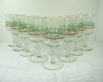 Vintage CHRISTMAS WINE GOBLETS Holly Glasses Bow Stem HOLiDAY Set/8 Glassware Stemware