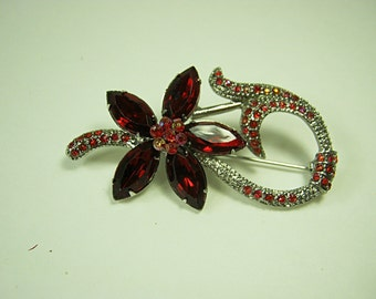 Vintage RHINESTONE FLOWER BROOCH Red Stones on Silver Pin