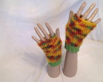 Fingerless gloves, mohair, wool cuff.