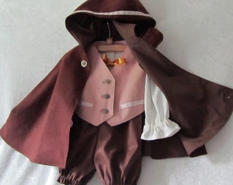 Baby Hobbit, Elf, Woodland Costume: Fully Lined Cloak W/Hood, Vest, Shirt, Pants - All Cotton/Linen, Size 6 - 12 Months, Ready To Ship Now