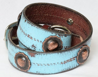 "Turquoise Leather Dog Collar, Turquoise  Western Dog Collar, Custom Leather Dog Collar, Sizes 17"" -22"""