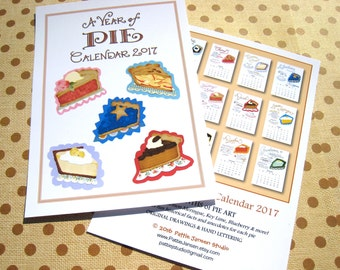 SALE -- 2017 Calendar, Pie Calendar, Kitchen Calendar, Desk Calendar 5x7, Gift for Baker