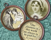 Jane Austen - 1-Inch Circles - Digital Collage Sheet - Regency, Literary, Antique Images - Instant Download - Digital Printables