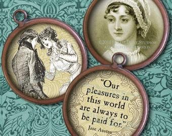 Jane Austen - 1-Inch Circles - Digital Collage Sheet - Regency, Literary, Antique Images - Instant Download - Digital Printables