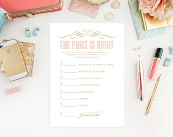 Instant Download - Old Fashioned The Price is Right Baby Shower Cards