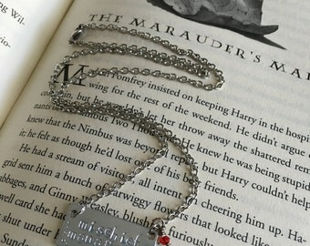 Mischief Managed Necklace:  Marauders Inspired Hand Stamped Pendant with Stainless Steel and Red Crystal