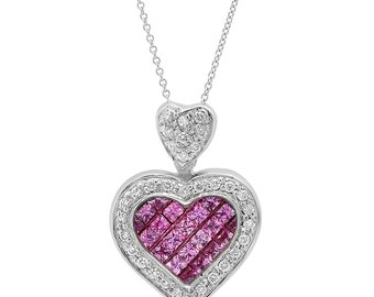 Pink Sapphire Heart Diamond Pendant Necklace in 14k White Gold | ready to ship!