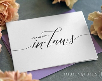 Wedding Card to Your New Mother and Father in-Law - Inlaws Card Gift, Keepsake Note- Parents of the Bride or Groom Wedding Day Cards - CS13