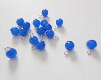 Natural Jade, Dyed Royal Blue Dangle Beads