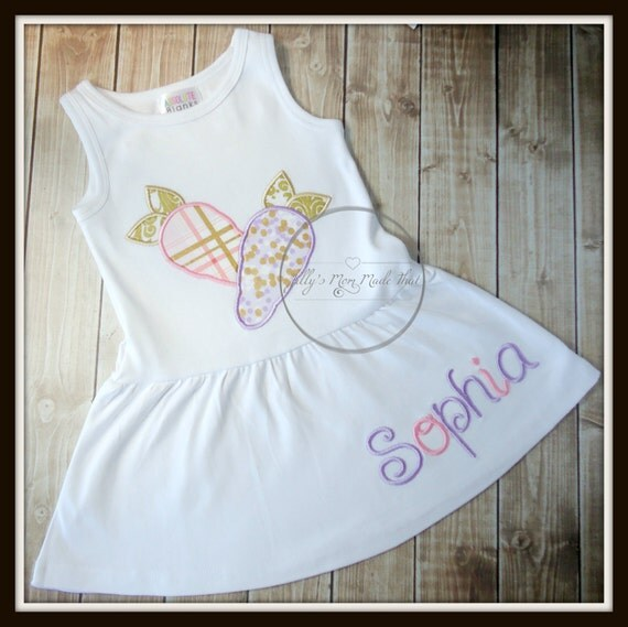 Easter Dress with Name, Pink Gold, Lavender & Gold, Carrots or Easter Lollipops Girls Easter Dress, 1st Easter Dress, Sleeveless Dress