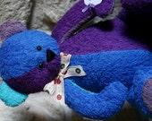 Handmade OOAK custom artist teddy bear in purple and blue tones. Made in Wales. Custom order.