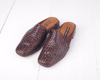 Vintage Sesto Meucci Brown Woven Leather Mules, Made in Italy, Womens 5 / ITEM311