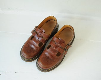 Vintage Dr. Martens Brown Leather Two Strap Sandals, Mary Jane, Womens UK 6, US 8