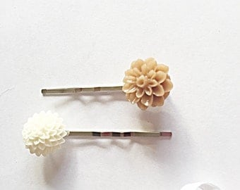 Flower Hair Grips - Flower Pins - Hair Accessory - Hair Pins -  Bridesmaid Hair Pins - Flower Girl - Gift For Her