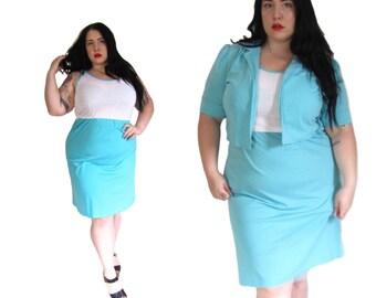 Plus Size Dress l Vintage 1980's 2Piece Cotton Dress l Size XL l Vintage Dress