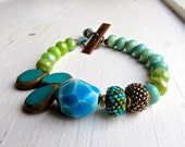 Pond Life - handmade bracelet, turquoise bracelet, green bead bracelet, blue bracelet, ceramic jewellery, bead jewellery, songbead, uk