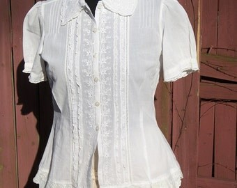 White Lace Blouse with Pink Button Detail - Altered Couture Magazine - Steampunk Junk Gypsy Clothing - Small