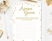Pink and Gold Bridal Apron Game Printable, Bridal Shower Apron Game, Glitter Confetti Pink Bridal Shower Game Print Instant Download BR1