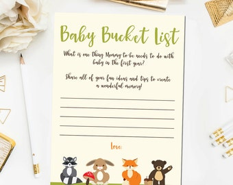 Woodland Baby Shower Games, Baby Bucket List Game, Baby Shower Games Woodland Baby Bucket List Printable Instant Download BB4