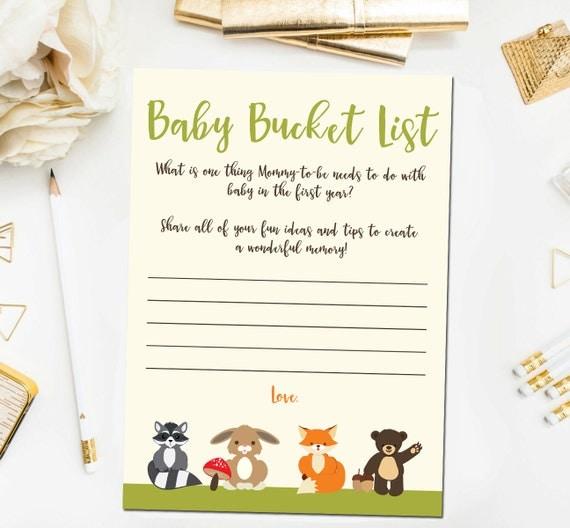 Woodland Baby Shower Games Baby Bucket List Game Baby Shower