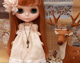Girlish - Mori Style Chiffon Dress Set for Blythe doll - dress / outfit
