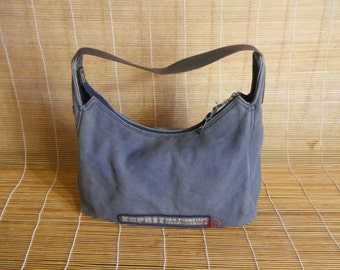 Vintage Textile Blue Canvas Purse Small Size Hand Bag Zip Up Top